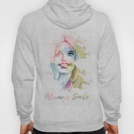Always smile! Hand-painted portrait of a woman in watercolor. Hoody