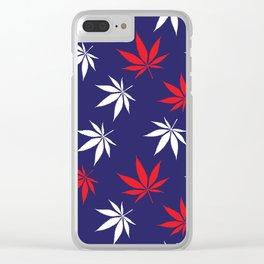 Marijuana leaves print - USA Clear iPhone Case