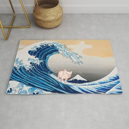Pig Surfing The Great Wave Rug