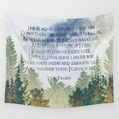 The Road Goes Ever On - LOTR poem, hobbit poem Wall Tapestry