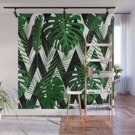Geometrical green black white tropical monster leaves Wall Mural