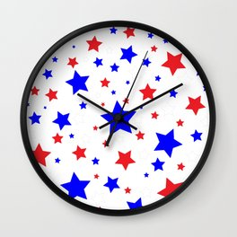 Red White and Blue Stars Wall Clock