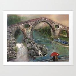 The Roman Bridge, Asturias  Art Print