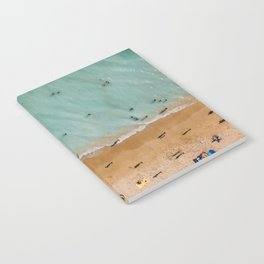 People On Algarve Beach In Portugal, Drone Photography, Aerial Photo, Ocean Wall Art Print Notebook