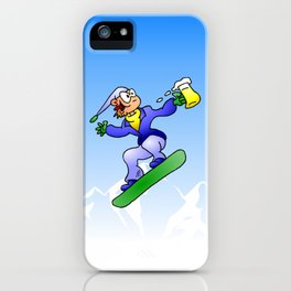 Snowboarding with a beer iPhone Case