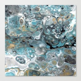 Turquoise White Gold Faux Marble Granite Canvas Print