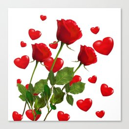 RED  ROSES & VALENTINES HEARTS  DESIGN Canvas Print
