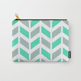Menthol green, gray and white chevron pattern Carry-All Pouch