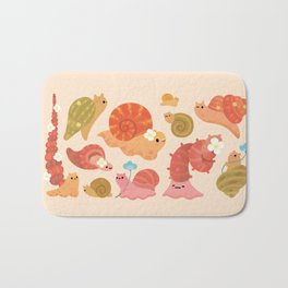 Snail and small flowers Bath Mat