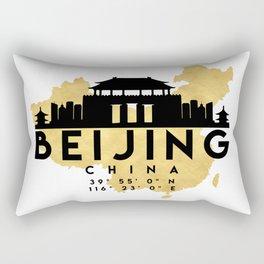 BEIJING CHINA SILHOUETTE SKYLINE MAP ART Rectangular Pillow