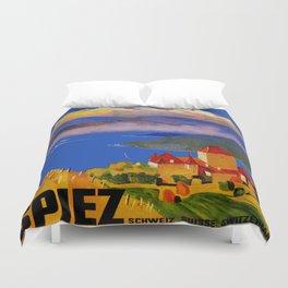 Vintage Spiez Switzerland Travel Poster Duvet Cover