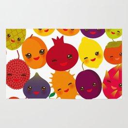 kawaii fruit Pear Mangosteen tangerine pineapple papaya persimmon pomegranate lime Rug