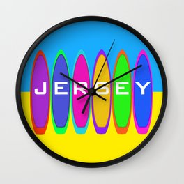 Jersey Surfboards on the Beach Wall Clock