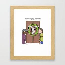 Christmas Card Comic Framed Art Print