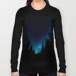 Black Trees Turquoise Milky Way Stars Long Sleeve T-shirt