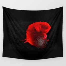 Diving in Red Wall Tapestry