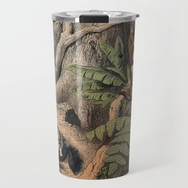 Brazil a puma attacks an ant eater in a forest with howling monkeys looking on. Coloured lithograph. Travel Mug