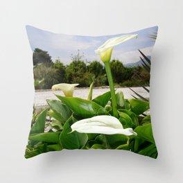 Three Cream Calla Lilies With Garden Background Throw Pillow