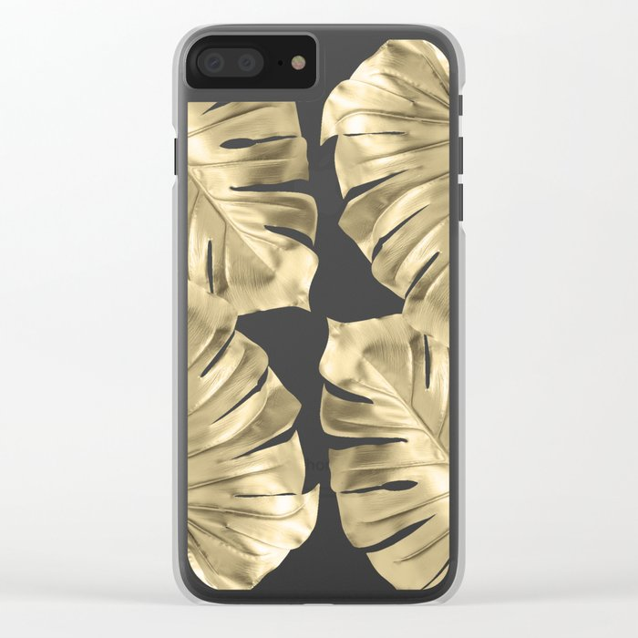 Monstera Gold Clear iPhone Case