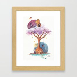 Penguins and Their Dream Tree with Castle Above and Igloo Below Framed Art Print