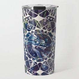 White Mandala on Purple Fluid Acrylic Painting Travel Mug