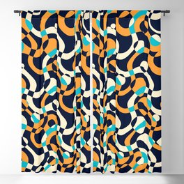 Bubbles and curves, abstract geometric design in orange and blue Blackout Curtain