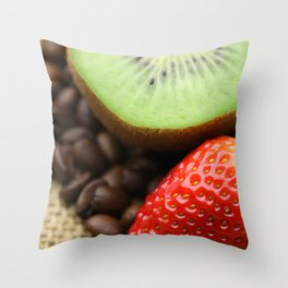 Coffee beans Kivi Strawberry Throw Pillow