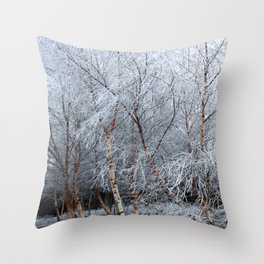 Frosty Trees in Winter Snow Throw Pillow