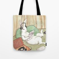 vinyl Tote Bags featuring Vinyl by Bluedogrose