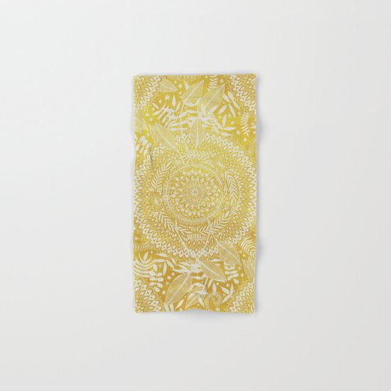 Medallion Pattern in Mustard and Cream Hand & Bath Towel