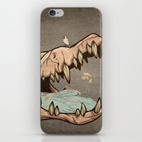 animal skull iPhone & iPod Skins featuring Animal Skull and birds by Paula Belle Flores