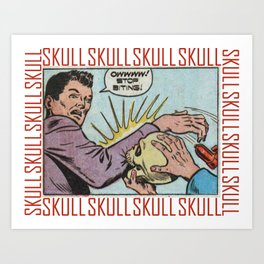SKULL COMIC STRIP Art Print