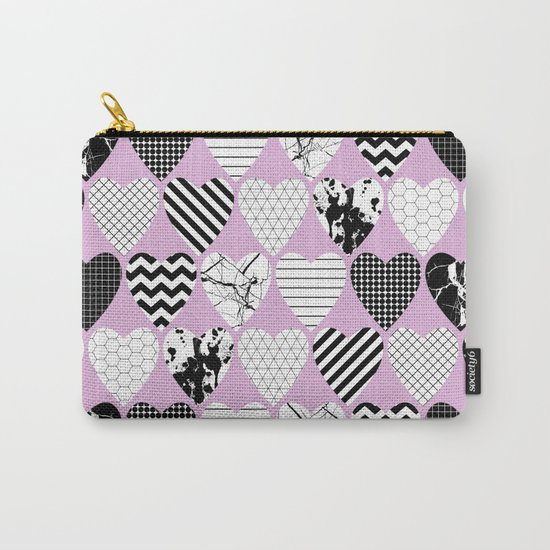 Hearts And Love - Black and white, geometric Pattern Carry-All Pouch