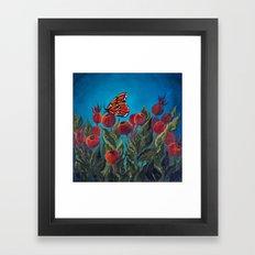 Butterfly in Rose Hips Framed Art Print