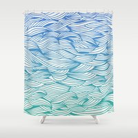 waves Shower Curtains featuring Ombré Waves by Cat Coquillette