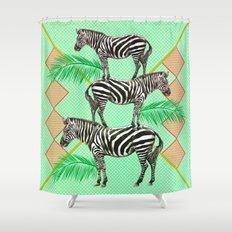 zebras in the jungle Shower Curtain
