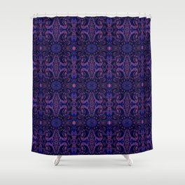 Curves & lotuses, abstract pattern, ultra-violet Shower Curtain