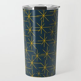 Stella - Atomic Age Mid Century Modern Pattern in Light Mustard Yellow and Navy Blue Travel Mug