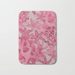 Coral reef and Starfish pink watercolor Bath Mat