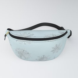 Assorted Silver Snowflakes On Light Blue Background Fanny Pack