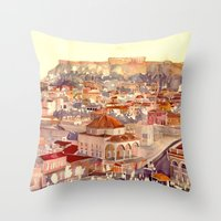 takmaj Throw Pillows featuring Athens by takmaj