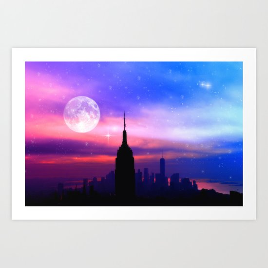 under the moon New York Art Print