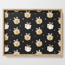 Black Gift Package Pattern Serving Tray