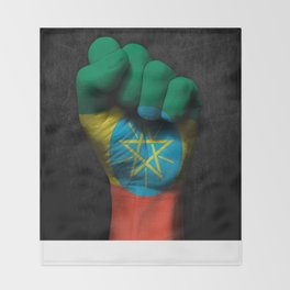Ethiopian Flag on a Raised Clenched Fist Throw Blanket