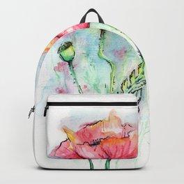 Poppies Watercolor Sketch Red Flowers Backpack