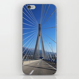 suspension bridge crossing Corinth Gulf strait, Patra, Greece iPhone Skin