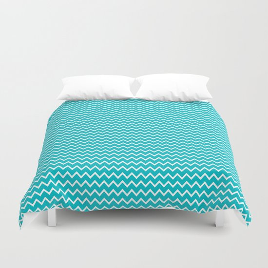 Teal Turquoise Blue Chevron Zigzag Pattern Duvet Cover By