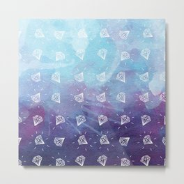 Simple Hand Drawn Diamond Pattern with Watercolor Background Metal Print