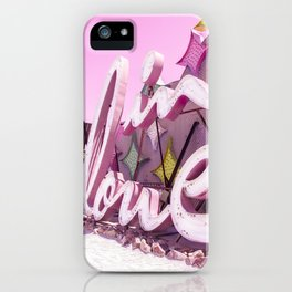 "Pink ""In Love"" Sign at the Neon Museum in Las Vegas, Nevada iPhone Case"