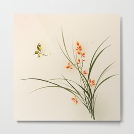 Oriental style painting - orchid flowers and butterfly 003 Metal Print